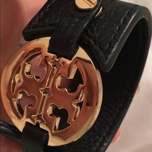 Tory Burch Black Leather Cuff
